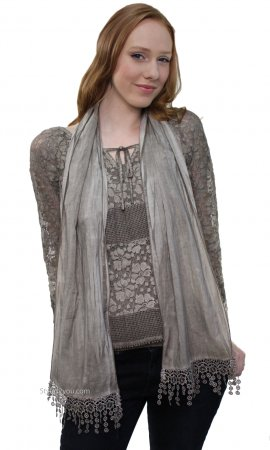Brittany 3 Piece Lace Blouse With Scarf & Undershirt In Browns