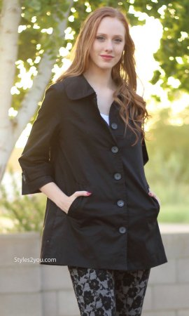Abbie Ladies Button Up 3/4 Sleeve Dress Jacket Coat In Black