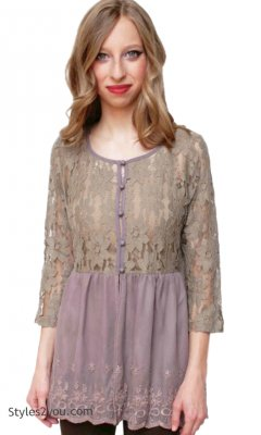Contessa Victorian Lace Top OR Cardigan In Cocoa A'reve Clothing