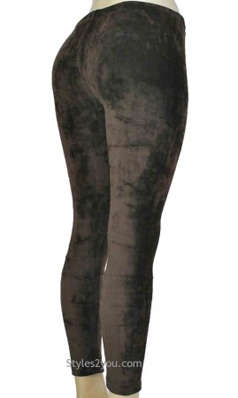 Regina Crushed Velvet Legging In Coffee