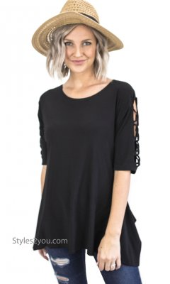 Dublin Ladies A Line Blouse With Lattice Sleeves In Black