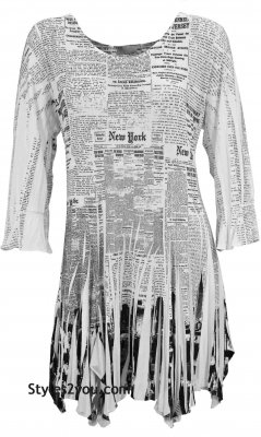 Bebe Ladies New York Newsprint Tunic Shirt Dress Pretty Woman
