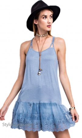 McKinney Stretchy Layering Tank Cami With Lace Hemline In Blue