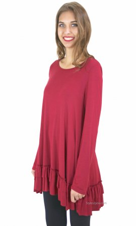 Celian PLUS SIZE Double Ruffle Tunic OR Extender In Rumba Red