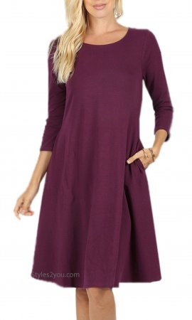 Dayna 3/4 Sleeve Cotton Dress With Pockets In Dark Plum