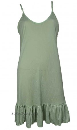 SILK Ruffle Slip Shirt Dress Extender Light Green Pretty Angel