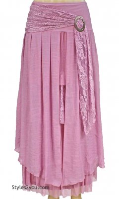 Antique Belted Skirt In Pink