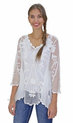 Keely PLUS SIZE Victorian 3/4 Sleeve Crochet & Lace Shirt Cream