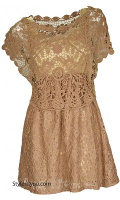 Sonya Retro Antique Crochet Lace Dress In Brown