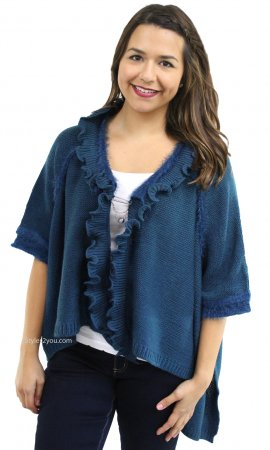 Oili Hi Low Short Sleeve Retro Sweater Cardigan Teal Shana K Top
