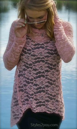 Lacey Long Sleeve Rose Victorian Vintage Lace Overshirt In Pink