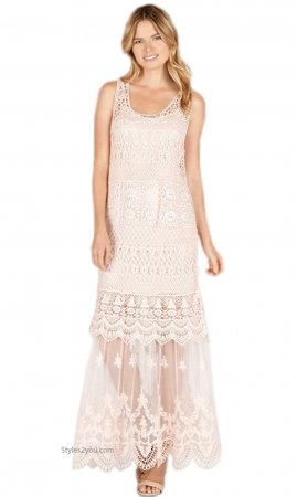 Biltmore Two Piece Crochet & Lace Maxi Dress Pale Pink Monoreno