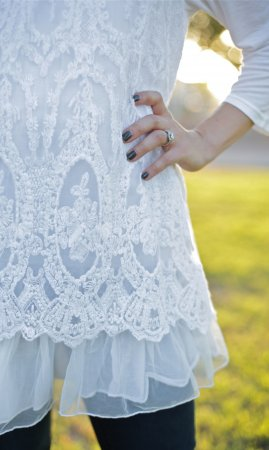 Cora Victorian Vintage Lace Tunic Blouse White Sacred Threads