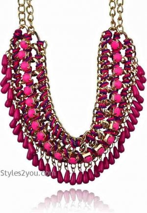 Beaded Collar Necklace n Dark Pink