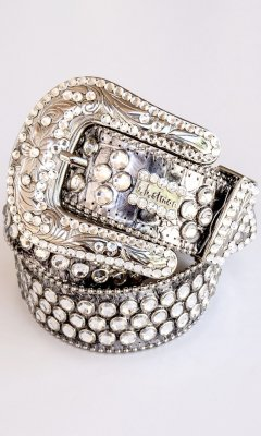 bb simon Leather Belt With 3 Rows Of Large Swarovski Crystals