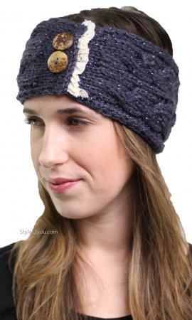 Knit Headband With Lace Ruffles In Dark Gray