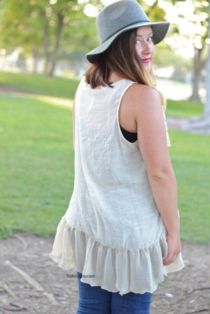Virgie Victorian Button Down Ruffle Vest In Carmel