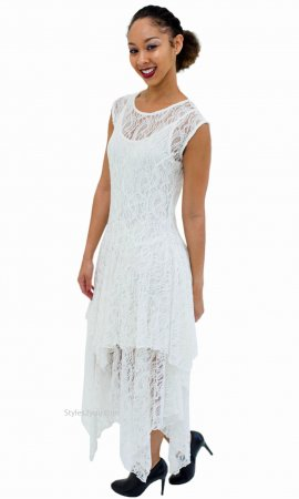 Abigail Layered All Lace Dress With Slip In Ivory Verducci Dress