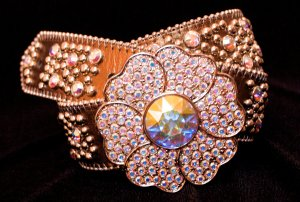 BB Simon Swarovski Crystal Leather Belt With Flower Belt Buckle