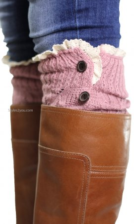 Boot Cuffs With Four Brown Buttons & Crochet Lace In Pink