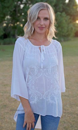 Quinn Ladies Embroidered 3/4 Sleeve Blouse White Sacred Threads