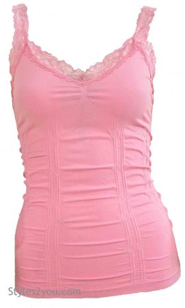 Styles2you Clothing Corset & Lace Undershirt In Light Pink