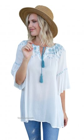 Dayton Bell Sleeve Embroidered Detail Tunic In Off White Easel