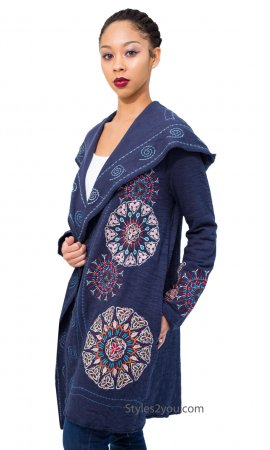 Halo Lady's Hoodie Jacket With Pockets & Embroidery In Navy