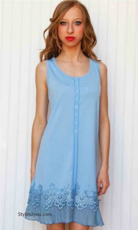 Kyle Ladies Tunic Dress In Light Blue Pretty Angel Tops