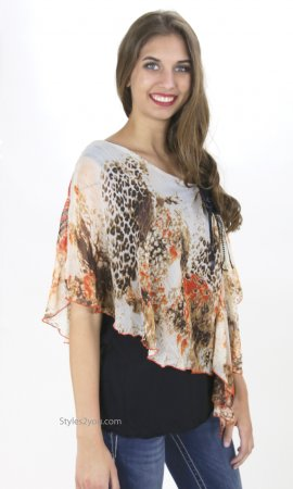 Bianca Ladies PLUS SIZE Blouse With Undershirt In Rusts