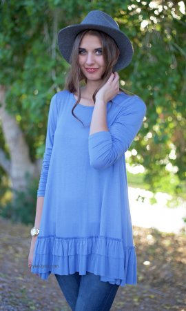 Celian Ruffle Shirt Dress Shirt Extender In Indigo Easel Clothes