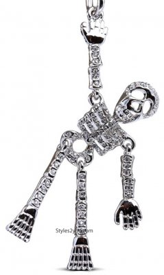 Skeleton Keychain With Clear Swarovski Crystals