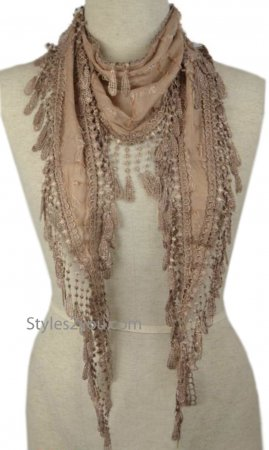 Toni Ladies Vintage Reproduction Scarf With Crochet Lace Browns