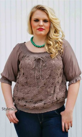Colleen PLUS SIZE Blouse in Brown