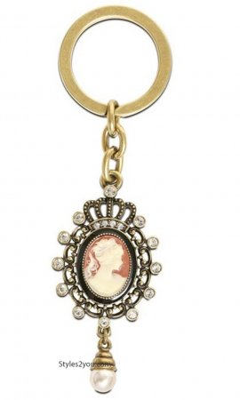 Antique Cameo Keychain With Swarovski Crystals