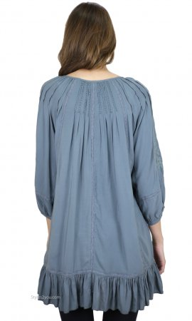 Chana Embroidered Tunic Dress With Ruffles In Teal Monoreno Tops