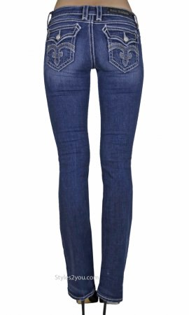 Debbie Ladies Bootcut Jeans Medium Blue Denim Rock Revival Jean