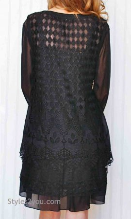 Lady Liberty Ladies Two Piece Vintage Victorian Tunic Black Top