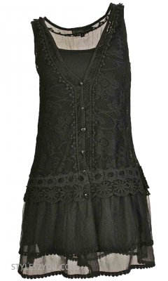 Lady Chantal Vintage Victorian Lace Top, Two Pieces In Black