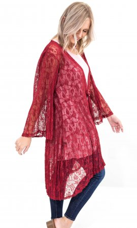Iowa Ladies Silk Lace Duster Cardigan With Buckle In Burgundy