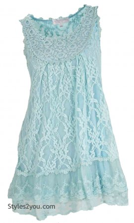 Anita Vintage Victorian Antique Lace Tunic In Aqua