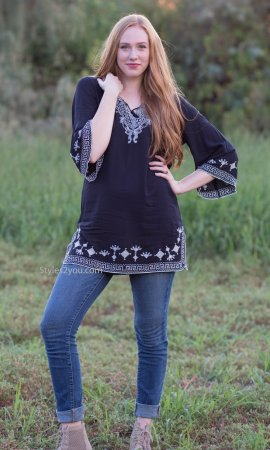 Clover Ladies Embroidered Bohemian Tunic In Navy