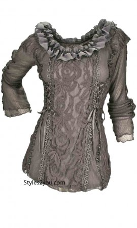 American Vintage Lace Blouse Steampunk Victorian Top In Gray