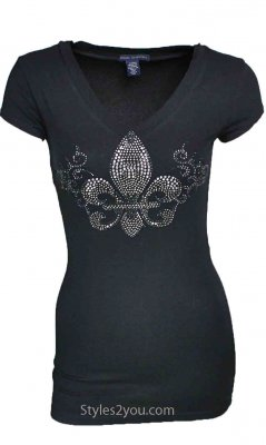 Zenana Outfitters Clothing Rhinestone Fleur De Lis Top In Black