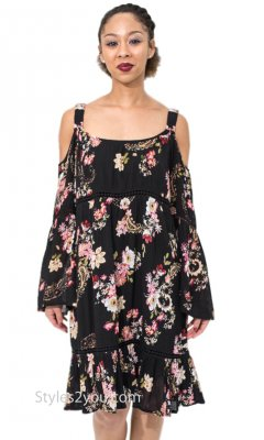 Elinor Ladies Floral Cold Shoulder Bohemian Shirt Dress In Black