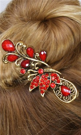 Ladies Vintage Butterfly Rhinestone Hair Clip In Red
