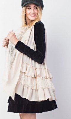 Arizona Triple Ruffled Lace Sleeveless Cardigan Vest In Natural