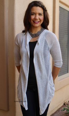 Barb Open Cardigan In Silver  JOH Clothing JOH Apparel