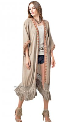 Athens Oversized Embroidered Fringe Trim Duster In Washed Latte