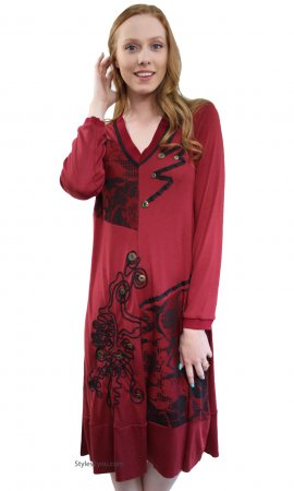 Blanche Bohemian Retro Vintage Reproduction Dress In Burgundy